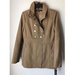 NWT Kenneth Cole Wool Blend Zip Up Beige Pea Coat